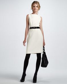 Belted Sheath Dress, Ecru by Milly at Bergdorf Goodman.