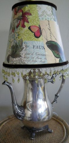 etsy    decoupage lampshade with gel medium text butterflies glitter?