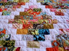 """Scrappy rectangles are cut 3"""" x 2"""", finish 2 1/2"""" x 1 1/2"""".  Pieced in horizontal rows."""
