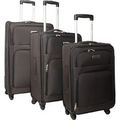 McBrine Luggage Eco Friendly 3 Piece Luggage Spinner Set Two tone grey - McBrine Luggage Luggage Sets