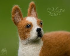 Needle felted boston terrier wool pet felted animal toy by byMagic