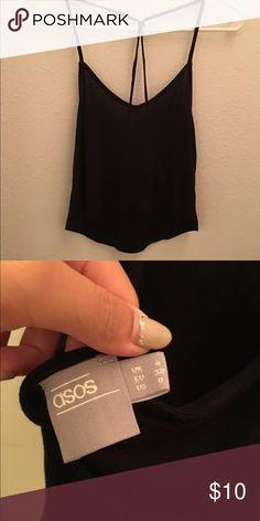 Asos black v neck crop Cami top Super cute only worn a few times. Size 0 fits xs. Asos Tops Crop Tops