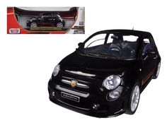 Fiat 500 Abarth Black 1/18 Diecast Car Model by Motormax - Brand new 1:18 scale diecast model car of Fiat 500 Abarth Black die cast car model by Motormax. Has steerable wheels. Brand new box. Rubber tires. Has opening hood, doors and trunk. Made of diecast with some plastic parts. Detailed interior, exterior, engine compartment. Dimensions approximately L-8,W-3.5,H-3,5 inches. Please note that manufacturer may change packing box at anytime. Product will stay exactly the same.-Weight: 4…