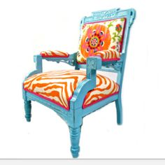 Cool chair // Love the upholstery and paint