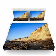 East Urban Home Beach Cliffside Rocks by Nick Nareshni Featherweight Duvet Cover Size: Twin