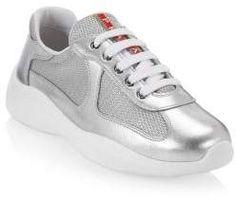 Prada Metallic Mesh & Leather Sneakers Chunky Sneakers, Leather Sneakers, Prada Shoes, Metallic Leather, Leggings Fashion, Mesh, Women, Style, Swag