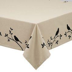 Bird Burlap Tablecloth - Vintage Market And Design