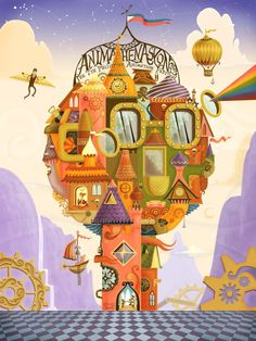 An animation festival poster inspired by steampunk. designed by cedrick zabala of zamboanga city, philippines.