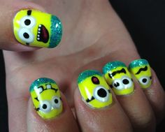 Minions from Despicable Me.... using Polylock Polishes: Pina Colada (base and art) Yellow Submarine Midnight Oil Jade Empire Masquerade Ball Queen of Hearts and a little teal holo glitterMinions from Despicable Me.... using Polylock Polishes: Pina Colada (base and art) Yellow Submarine Midnight Oil Jade Empire Masquerade Ball Queen of Hearts and a ...