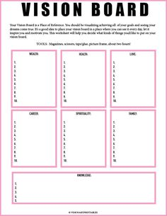 Board Worksheet// Vision Board Checklist// Law of Attraction// Visualization Worksheet// Mind Get Your Personal Walking Plan and Transform Your Body 🔥🔥🔥 PINK Vision Board and Vision Frame Vie Motivation, Ms Project, Project Board, Goal Board, Creating A Vision Board, Visualisation, Goal Planning, Party Planning, Journal Prompts