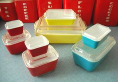 Vintage Pyrex primary and lustro-ware.  Love these - I have a couple sets and use them all the time.