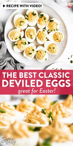 If you're looking for an easy, classic recipe to make deviled eggs for Easter: This is the one you need! Quick to pull together and absolutely foolproof, the add some festive springtime cheer to your holiday celebration and only need a few ingredients. Potluck Recipes, Spring Recipes, Easter Recipes, Egg Recipes, Appetizer Recipes, Holiday Recipes, Diet Recipes, Breakfast Recipes, Snack Recipes