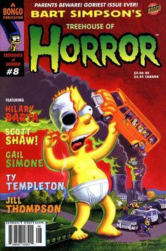 Bart Simpson's Treehouse of Horror Comics guide — covers & information — Simpsons Crazy Simpsons Drawings, Simpsons Art, Cute Halloween Drawings, Halloween Fun, Comic Book Covers, Comic Books, Cartoon Posters, Cartoons, Simpsons Treehouse Of Horror