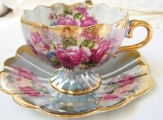 Vintage Royal Halsey footed tea cup - get vintage tea cups and pots tattooed.for the love of tea! Vintage Cups, Vintage Dishes, Vintage China, China Tea Cups, Teapots And Cups, My Cup Of Tea, Tea Cup Saucer, High Tea, Afternoon Tea