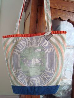 vintage HUBBARD's Sunshine feed sack tote  Gussied Up by ginnymae, $55.00