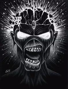 Eddie (Iron Maiden) by Heavy Metal Art, Heavy Metal Bands, Camisa Rock, Iron Maiden Mascot, Iron Maiden Posters, Gif Terror, Eddie The Head, Music Artwork, Tool Artwork