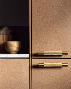 Brass pull bars and MDF. Hardware by Buster + Punch #hardware #brass #mdf #kitchen #kitcheninspiration