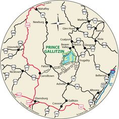 This circular maps shows the roads leading to Prince Gallitzin State Park, Pennsylvania.