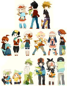 Blue, Red, Green, Silver, Gold, Kotone, Pearl, Platinum - Hkaru, Diamond, Ruby, Sapphire, Mitsuru, Touya, Touko, N, pokemon heroes