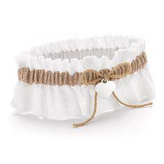 Garter--burlap beauty wedding garter | rustic wedding ceremony accessories at Invitations By Dawn
