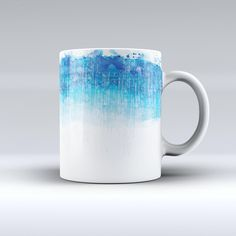 The Faded Blue Watercolor Strokes ink-Fuzed Ceramic Coffee Mug from DesignSkinz