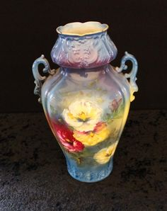 14.5' signed Royal Bonn floral handled vase / SOLD $60.00