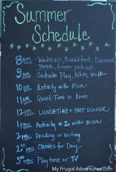 How to Make a Summer Schedule for Kids Plus activities for summer- do chores and reading earlier to get them out of the way before play