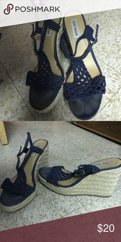 Navy Steve Madden wedges Size 11 cute, rope strapped wedge sandals Shoes Heels