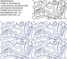 Strike Up The Band E2E - Pantograph By Deb Geissler / Designs by Deb DBDPANTO0025