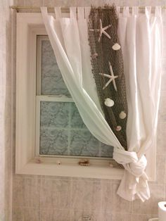 Beach themed curtain idea for bathroom More