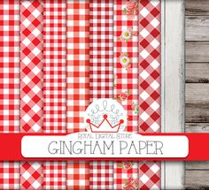 "Gingham digital paper: ""Gingham Paper"" with red gingham, gingham tablecloth, gingham backgrounds, burlap, wood + 2 GIFT papers wood+burlap #red #woodtexture #partysupplies #planner #summerdigitalkit #digitalpaper #scrapbookpaper #shabbychic"