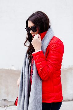 Bright red puffer ja