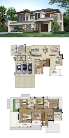 Land and houses modern house plans, big modern houses, house layout plans, modern Modern House Floor Plans, Dream House Plans, Dream Houses, Big Modern Houses, Modern House Design, House Layout Plans, House Layouts, Floor Plan Layout, Villa Plan