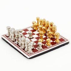 Amazon.com: 1:12 Scale Metal Chess Set Dollhouse Miniature Nursery Toy Game Study Accessory: Toys & Games