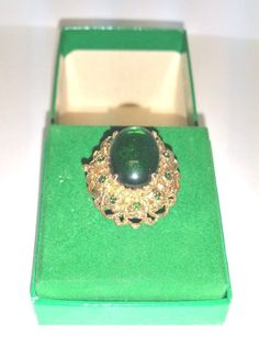 Crepe De Chine Solid Perfume Faux Emerald Ring F Millot USA House of Fragarance