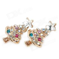 6% OFF! Fashionable Christmas Tree Shape Alloy + Crystal Earrings - Multicolored (Pair) #madeinchina #earrings >http://dxurl.com/RMTs