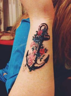 Floral Anchor Tattoo by Freckles