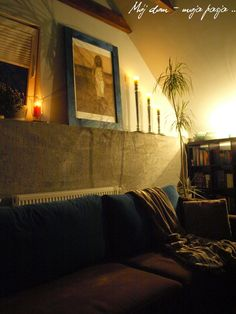 salon, rest room, at night, loft, industrial, candlestick, decor, home