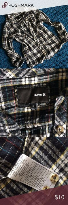 Hurley Boyfriend Fit Plaid Button Down Primarily black and white with tiny yellow, blue and red lines in the plaid. Very soft, cotton feel. Worn but still in great condition - a few threads to be trimmed up (see photo). Still has replacement buttons on the tag. Hurley Tops Button Down Shirts