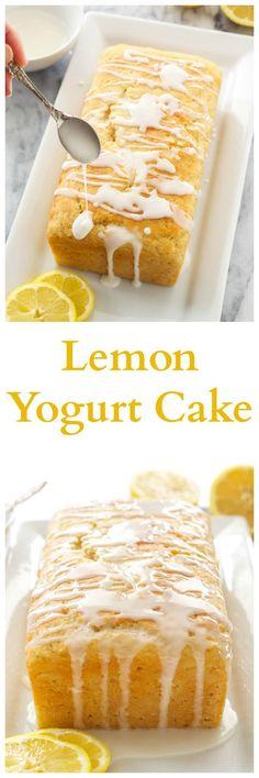 Lemon Yogurt Cake | A moist lemon loaf cake made healthier thanks to Greek yogurt! via @reciperunner