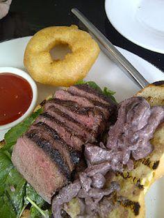 Aura Restaurant + Patio - Beef Strip Loin Steak Sandwich.