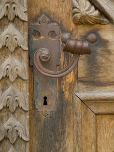 Old Door Handle, Ceske Budejovice, Czech Republic Photographic Print by Russell Young at Art.com