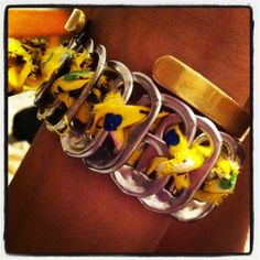 Bracelet made from ribbon and pop can tabs :). #DIY
