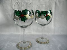 Hey, I found this really awesome Etsy listing at https://www.etsy.com/listing/113356580/hand-painted-wine-glasses-holiday-wine