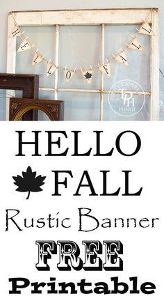 Hello Fall Rustic Banner Free Printable