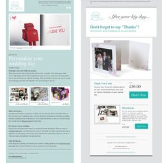 Using Mail Chimp: The aqua one on the left was my second HTML email and using a different template. Wedding Photos, Wedding Day, Newsletter Design, Design Girl, Photo Book, Big Day, Thank You Cards, Aqua, Thankful