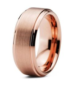 Men's rose gold wedding band. Choose from multiple band widths for this illuminated ring. The high polished tungsten ring will forever keep it's shine. This