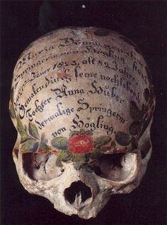 An Inscribed Skull, artist unknown.
