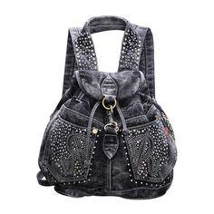Fashion crystal drawstring denim backpack ladies designer high grade jeans cloth bags shoulder women travel backpacks 2colors