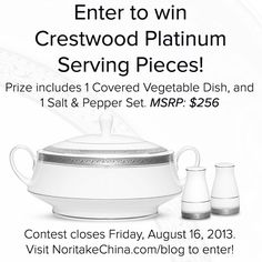 Win a set of Crestwood Platinum Serving Pieces from @Noritake China! http://noritakechina.com/blog/crestwood-platinum-serveware-giveaway/